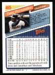 1993 Topps #465  Tony Fernandez  Back Thumbnail