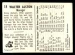1960 Bell Brand Dodgers #18  Walt Alston  Back Thumbnail