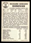 1960 Leaf #72 SML Dick Donovan  Back Thumbnail
