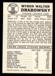 1960 Leaf #68  Moe Drabowsky  Back Thumbnail
