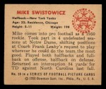 1950 Bowman #50  Mike Swistowicz  Back Thumbnail
