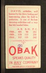 1911 T212 Obak RED Davis  Back Thumbnail