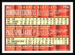 1994 Topps #776  Domingo Cedeno  /  Paul Spoljaric  Back Thumbnail