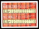 1994 Topps #765  Mark Holzemer  /  Paul Swingle  Back Thumbnail