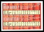 1994 Topps #788  Brian Barber  /  Richard Batchelor  Back Thumbnail