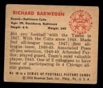 1950 Bowman #40  Richard Barwegan  Back Thumbnail