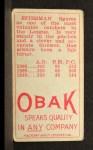 1911 T212 Obak RED M.J. Spiesman  Back Thumbnail