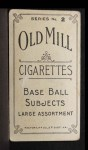 1910 T210-2 Old Mill Virginia League  Brown  Back Thumbnail