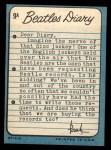 1964 Topps Beatles Diary #9 A Paul McCartney  Back Thumbnail