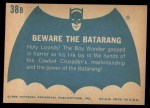 1966 Topps Batman Blue Bat Back #38   Beware the Batarang Back Thumbnail
