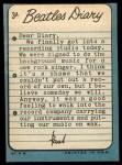 1964 Topps Beatles Diary #3 A  Paul McCartney  Back Thumbnail