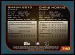 2001 Topps #740   -  Shaun Boyd / Chris Morris Draft Picks Back Thumbnail