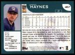2001 Topps #467  Jimmy Haynes  Back Thumbnail