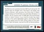 2001 Topps #763   Miami Marlins Team Back Thumbnail