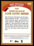 2002 Topps #696   -  Mike Mussina Golden Glove Back Thumbnail
