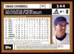 2002 Topps #144  Craig Counsell  Back Thumbnail