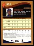 2002 Topps #694  David Bacani  Back Thumbnail