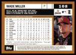 2002 Topps #108  Wade Miller  Back Thumbnail