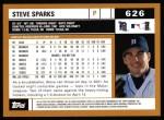 2002 Topps #626  Steve Sparks  Back Thumbnail
