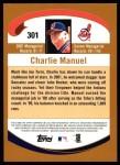 2002 Topps #301  Charlie Manuel  Back Thumbnail