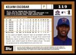 2002 Topps #119  Kelvin Escobar  Back Thumbnail