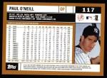 2002 Topps #117  Paul O'Neill  Back Thumbnail