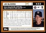 2002 Topps #422  Joe McEwing  Back Thumbnail