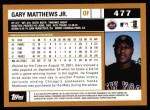 2002 Topps #477  Gary Matthews Jr.  Back Thumbnail