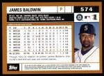 2002 Topps #574  James Baldwin  Back Thumbnail