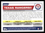 2004 Topps #666   Texas Rangers Team Back Thumbnail