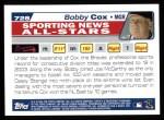 2004 Topps #728   -  Bobby Cox All-Star Back Thumbnail