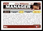 2004 Topps #279  Jimy Williams  Back Thumbnail