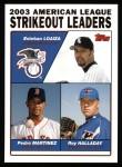 2004 Topps #342   -  Esteban Loaiza / Pedro Martinez / Roy Halladay Leaders Front Thumbnail