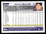 2004 Topps #574  Jeromy Burnitz  Back Thumbnail