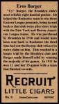 1912 T207 Reprint  Eros Cy Barger  Back Thumbnail