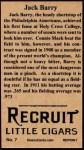 1912 T207 Reprint  Jack Barry  Back Thumbnail