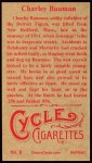 1912 T207 Reprint  Charley Bauman  Back Thumbnail