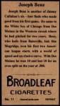 1912 T207 Reprint  Joseph Benz  Back Thumbnail