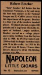 1912 T207 Reprint  Bob Bescher  Back Thumbnail