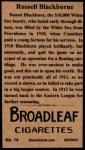 1912 T207 Reprint  Russell Blackburne  Back Thumbnail