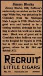1912 T207 Reprint  Jimmy Block  Back Thumbnail