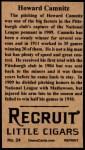 1912 T207 Reprint  Howard Camnitz  Back Thumbnail