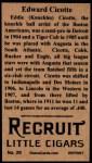 1912 T207 Reprint  Eddie Cicotte    Back Thumbnail