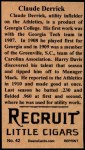 1912 T207 Reprint  Claude Derrick  Back Thumbnail
