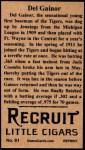 1912 T207 Reprint  Del Gainor  Back Thumbnail