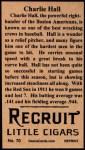 1912 T207 Reprint  Charlie Sea Lion Hall    Back Thumbnail