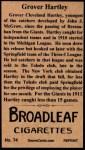 1912 T207 Reprint  Grover Hartley  Back Thumbnail