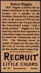 1912 T207 Reprint  Robert Higgins  Back Thumbnail