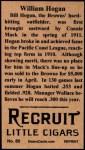 1912 T207 Reprint  Willie Hogan    Back Thumbnail