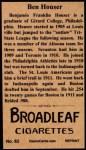 1912 T207 Reprint  Ben Houser  Back Thumbnail
